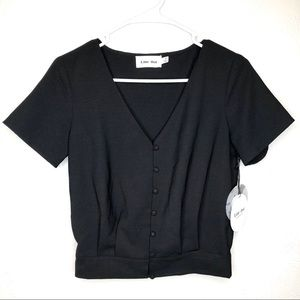 Anthropologie Line and Dot black button top size S